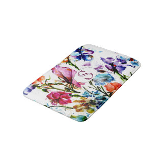 Whimsical Watercolor Flowers with Monogram Bathroom Mat