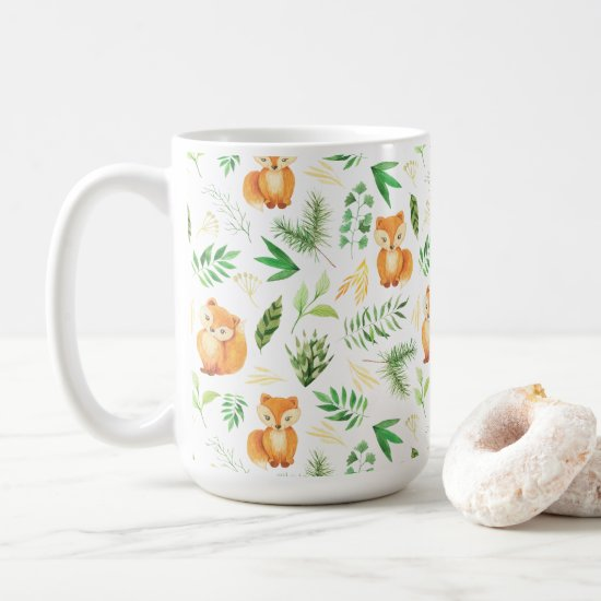 Whimsical Watercolor Foxes and Leaves Mug |