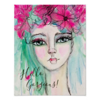 Whimsical Watercolor Girl Pink Flower Crown Cute Poster