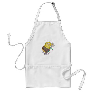 Whimsical Watercolor Happy Bee Flower Fun Adult Apron
