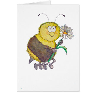 Whimsical Watercolor Happy Bee Flower Fun Greeting Card