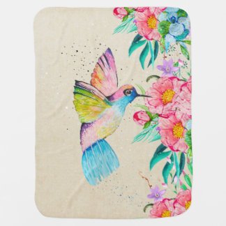 Whimsical watercolor hummingbird and flowers baby blanket