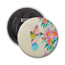 Whimsical watercolor hummingbird and flowers bottle opener