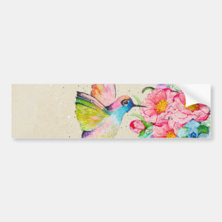 Whimsical watercolor hummingbird and flowers bumper sticker