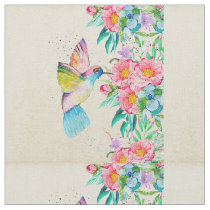 Whimsical watercolor hummingbird and flowers fabric