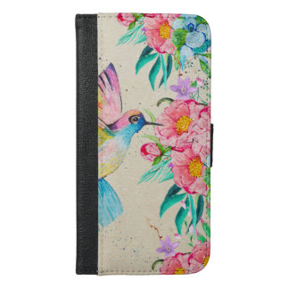 Whimsical watercolor hummingbird and flowers iPhone 6/6s plus wallet case
