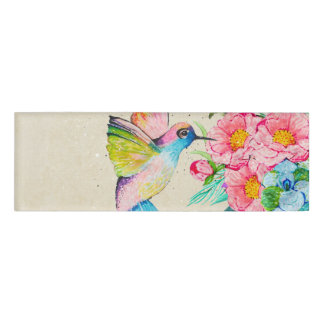 Whimsical watercolor hummingbird and flowers name tag