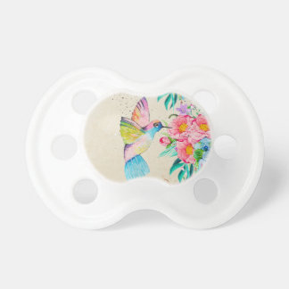 Whimsical watercolor hummingbird and flowers pacifier