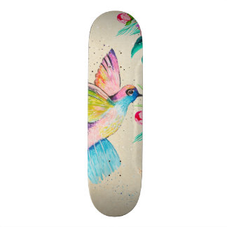 Whimsical watercolor hummingbird and flowers skateboard deck