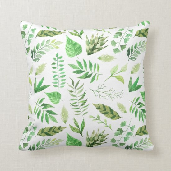 Whimsical Watercolor Leaves Greenery Throw Pillow