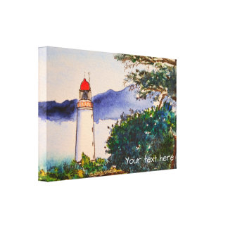 Whimsical Watercolor Lighthouse Scene Canvas Print