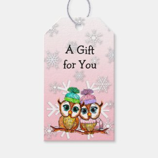 Whimsical Watercolor Owls and Snowflakes Christmas Gift Tags