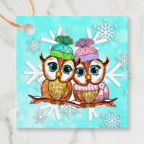 Whimsical Watercolor Owls Christmas Gift Tag