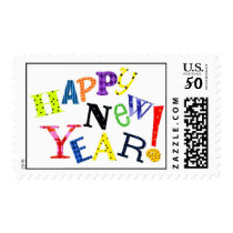 Whimsical Watercolor Painted Happy New Year! Postage