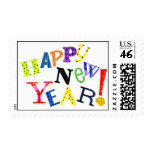 Whimsical Watercolor Painted Happy New Year! Postage Stamp
