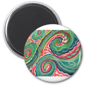 Whimsical Watercolor: Pink and Bright Green Magnet