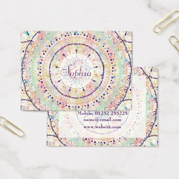 Whimsical watercolor tribal doddles mandala business card