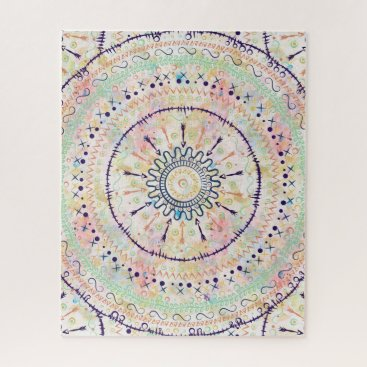 Aztec Themed Whimsical watercolor tribal doddles mandala jigsaw puzzle