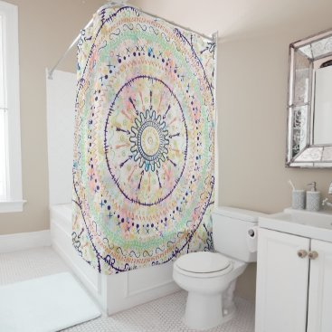 Whimsical watercolor tribal doddles mandala shower curtain