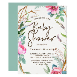 Whimsical Watercolor Wreath Baby Shower Invitation
