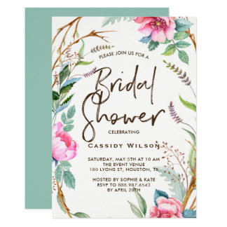 Whimsical Watercolor Wreath Bridal Shower Card