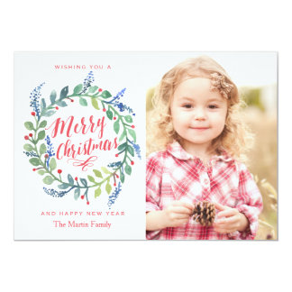 Whimsical Watercolor Wreath Christmas Photo Card