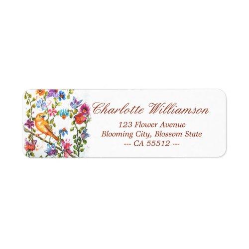 Whimsical Watercolor Yellow Bird Address Label