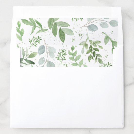 Whimsical Watercolour Greenery Pattern Envelope Liner