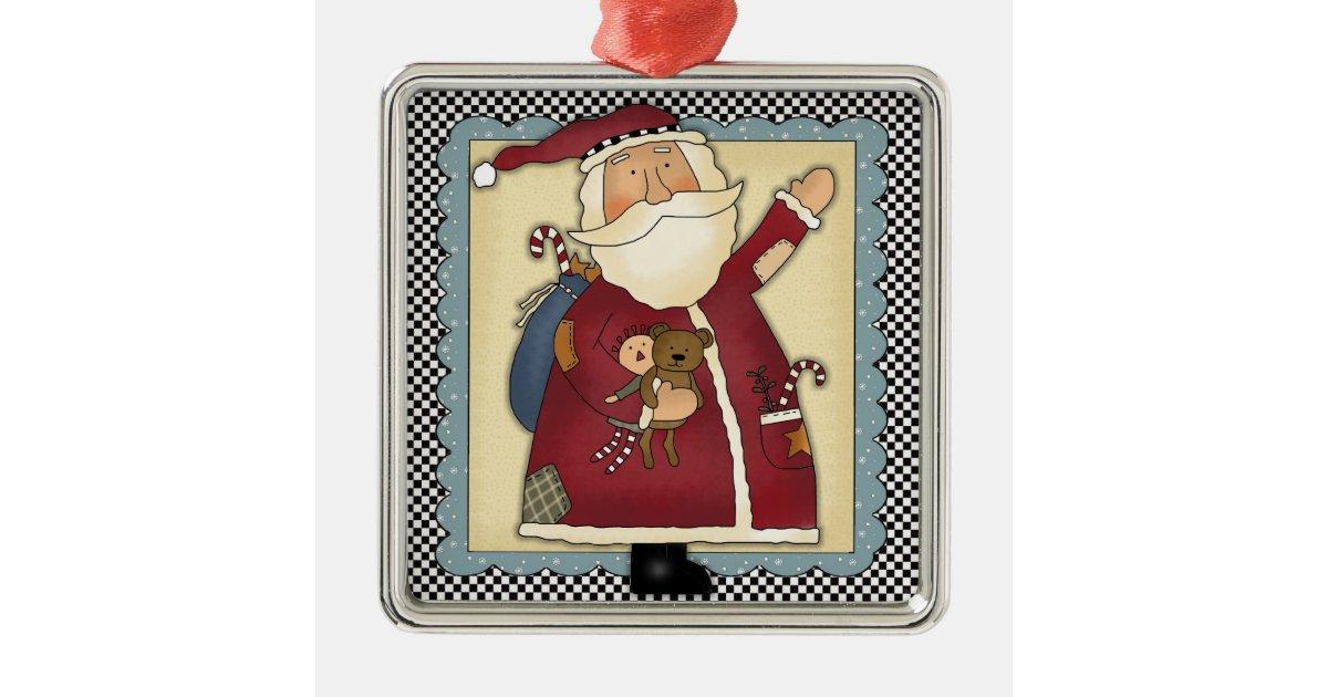 Whimsical waving santa folk art christmas gift metal