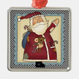 Whimsical Waving Santa Folk Art Christmas Gift Square Metal Christmas Ornament