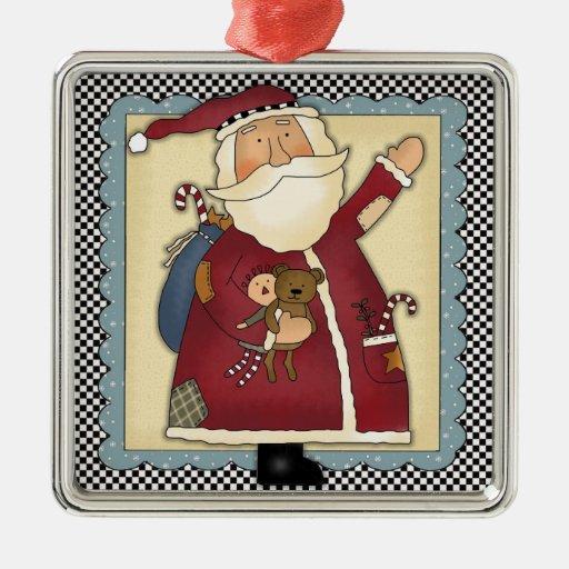 Whimsical waving santa folk art christmas gift square