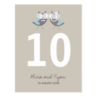 Whimsical Wedding Brown Blue Owls Table Number Postcard