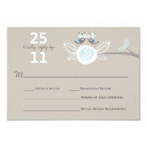 Whimsical Wedding Brown Owls On Branch RSVP Card