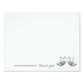 Whimsical Wedding Brown Owls Tree Branch Thank You Card