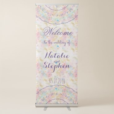 Aztec Themed Whimsical wedding collection doddles mandala retractable banner