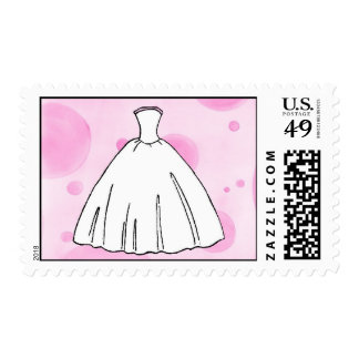 Whimsical Wedding Dress Postage Stamp
