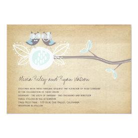 Whimsical Wedding Owls Woodland Rustic Wedding 5x7 Paper Invitation Card