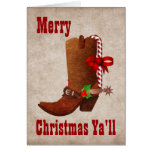 Whimsical Western Style Christmas Greeting Card