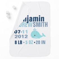Whimsical Whale Baby Birth Announcement {blue} Receiving Blanket