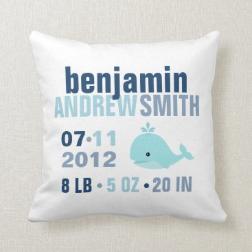 Toddler & Baby themed Whimsical Whale Baby Birth Announcement {blue} Throw Pillow