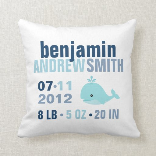 Whimsical Whale Baby Birth Announcement {blue} Throw Pillows