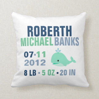Whimsical Whale Baby Birth Announcement {green} Throw Pillow