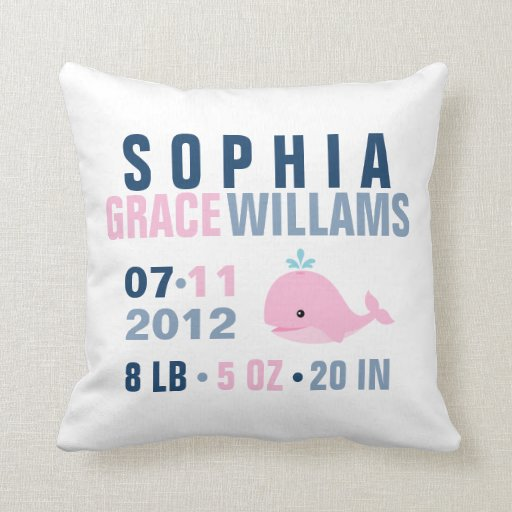 Whimsical Whale Baby Birth Announcement {pink} Pillows