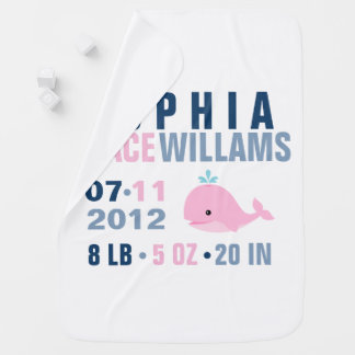 Whimsical Whale Baby Birth Announcement {pink} Stroller Blanket