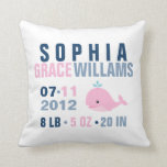 Whimsical Whale Baby Birth Announcement {pink} Throw Pillow