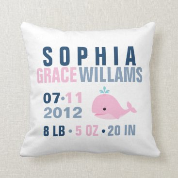 heartlocked Whimsical Whale Baby Birth Announcement {pink} Throw Pillow