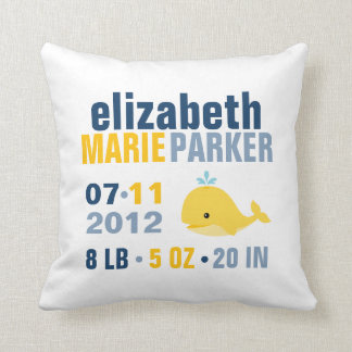Whimsical Whale Baby Birth Announcement {yellow} Throw Pillows