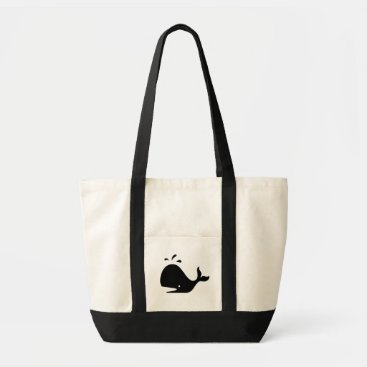Beach Themed Whimsical Whale Tote Black