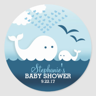 Whimsical Whales (boy) Baby Shower Classic Round Sticker