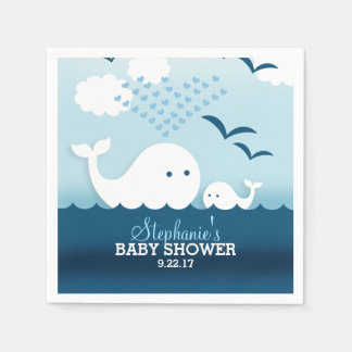 Whimsical Whales (boy) Baby Shower Napkin